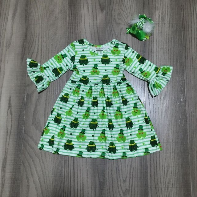 baby girl clothes girls St Patrick's day dress with smeil Clover print girls green dress with bow wholesale