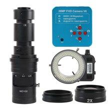 Cámara de vídeo de microscopio, 38MP, 2K, 1080P, 60FPS, HDMI, USB, lente de montaje Monocular C, lámpara de anillo 144LED para reparación de soldadura PCB