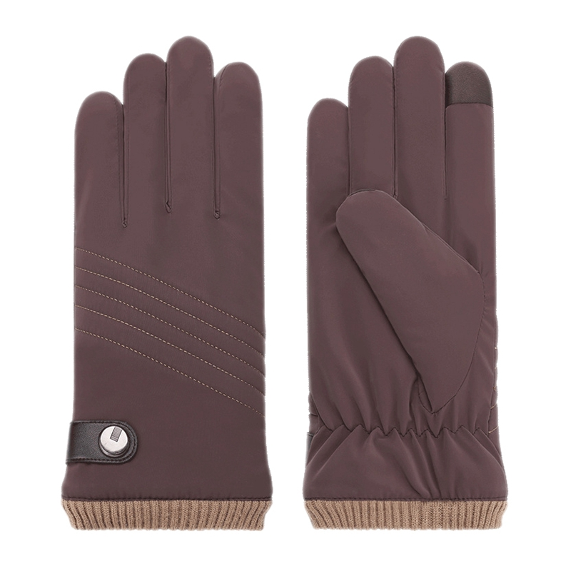 Men's Down Cotton Gloves Plus Velvet Thick Warm Autumn And Winter Press Screen Cold And Windproof