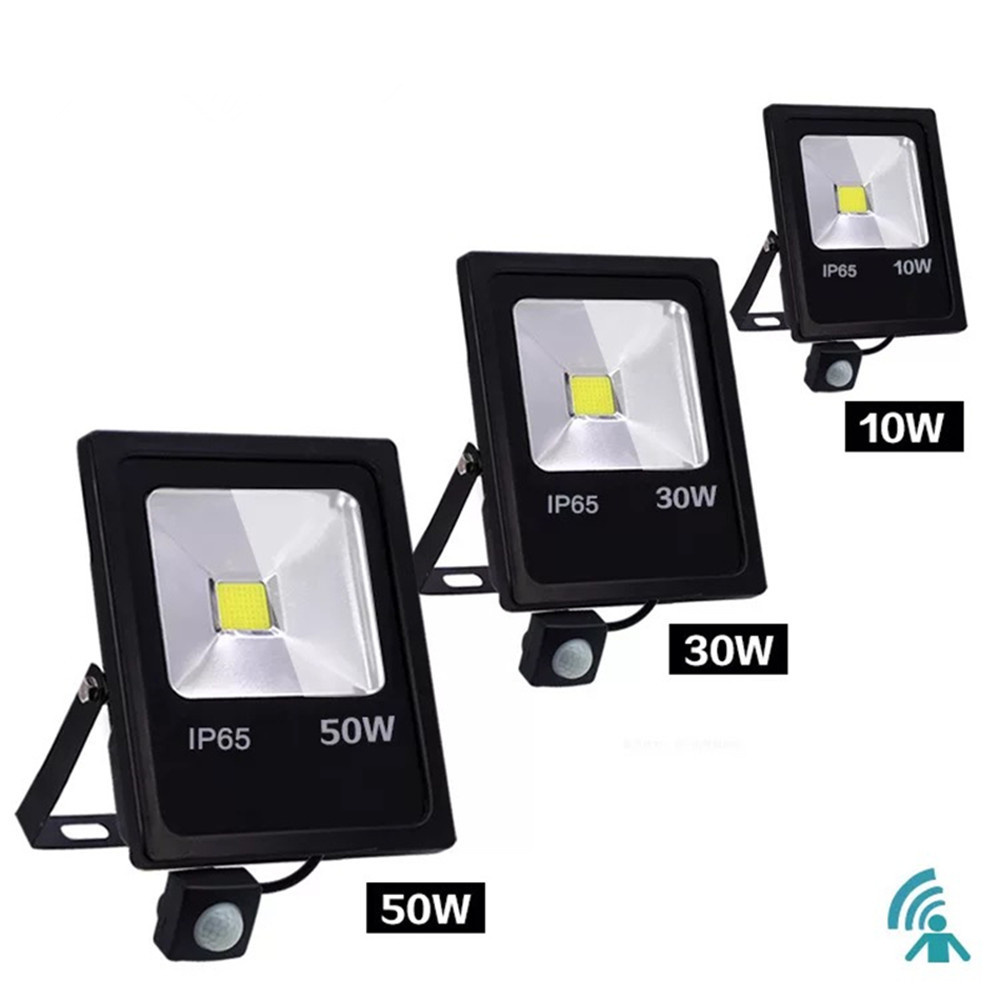 PIR Motion Sensor LED Flood Light 10W 30W 50W Outdoor Floodlight 220V 240V Waterproof Led Spotlight for Garden Wall Street Light