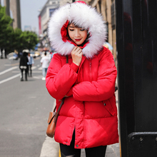 Warm cotton jacket winter women thick hooded Parkes ladies coat fashion casual female black long white down