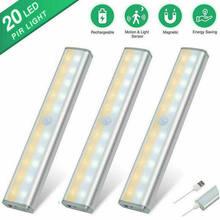Sem fio 20 led usb recarregável luz da noite pir sensor de movimento luz sob armário armário armário cozinha sensor luz da lâmpada
