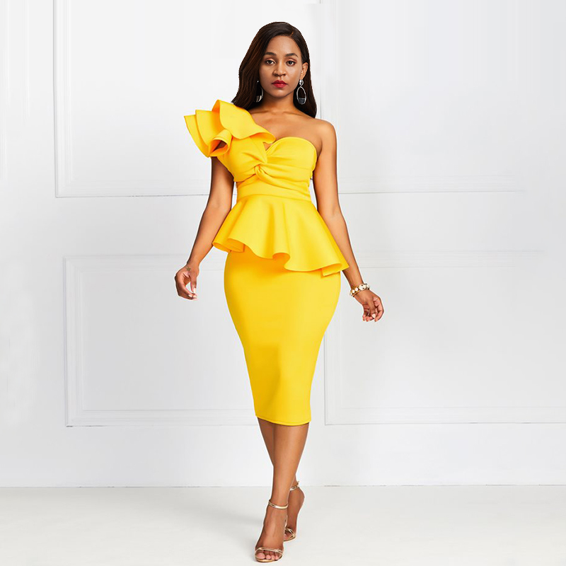 Sisjuly Yellow Asymmetrical One Shoulder Dress Solid Oblique Collar Ruffle Slim Midi-Length Elegant Dress European Party