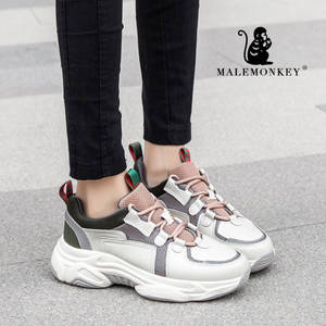 MALEMONKEY Platform Shoes Sneaker Bottom Comfortable Genuine-Leather Women Casual Sport