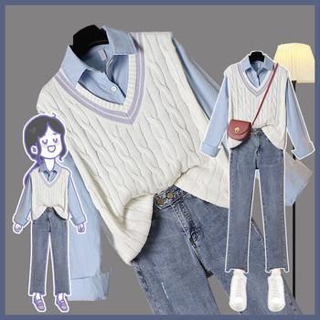 3 sztuka Plus rozmiar 2XL trwałe koszule słodkie kamizelki dżinsy do kostek biuro pani kobiet codziennie na co dzień modny Chic zestawy dla kobiet elegancki tanie i dobre opinie OLOME CN (pochodzenie) Zima REGULAR Osób w wieku 18-35 lat Skręcić w dół kołnierz Przycisk fly COTTON Poliester Swetry