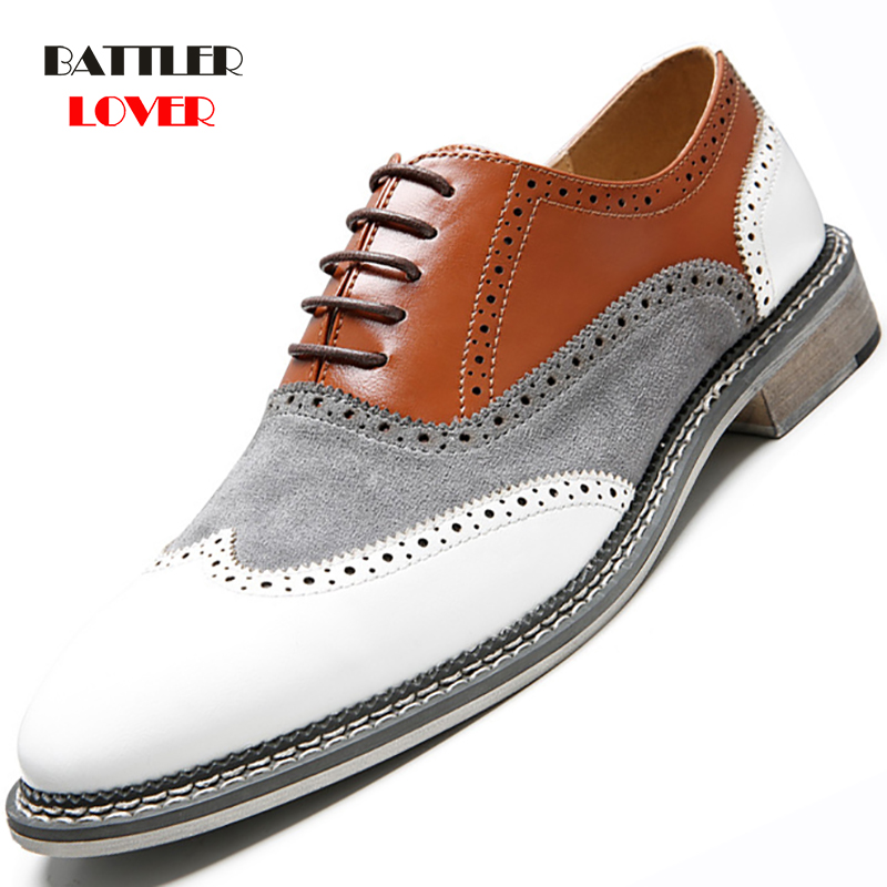 Full Brogue Men Casual Dress Shoes White Patchwork CONTRAST Color Oxford Genuine Leather Formal Shoes Party Gentleman British