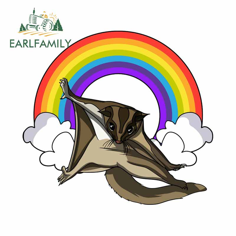 EARLFAMILY 13cm x 11.8cm Sugar Glider Rainbow Clock By Underheaven Redbubble Car Styling Sticker Waterproof Vinyl Decals(China)