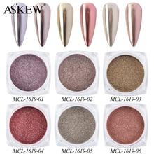 6-Boxes/Set Rose-Gold Mirror Glitter-Powder Manicure-Decorations Bubble-Chrome-Pigment