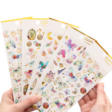 30packs/lot Cute Cartoon Beautiful Dream Crystal Six Selections Stickers In A Notebook For Decoration Photo Album
