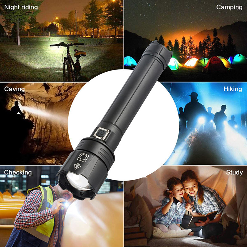 XHP90.2 Rechargeable Powerful Xhp70 LED Flashlight Torch Tactical Light Lamp for Camping 18650 26650 Battery Zoomable Waterproof