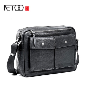 AETOO Leather cross section casual messenger bag head layer vegetable tanned cowhide men's shoulder package postage tide aetoo leather art sen retro shoulder shoulder bag handbags women s vegetable tanned leather saddle bags multi color