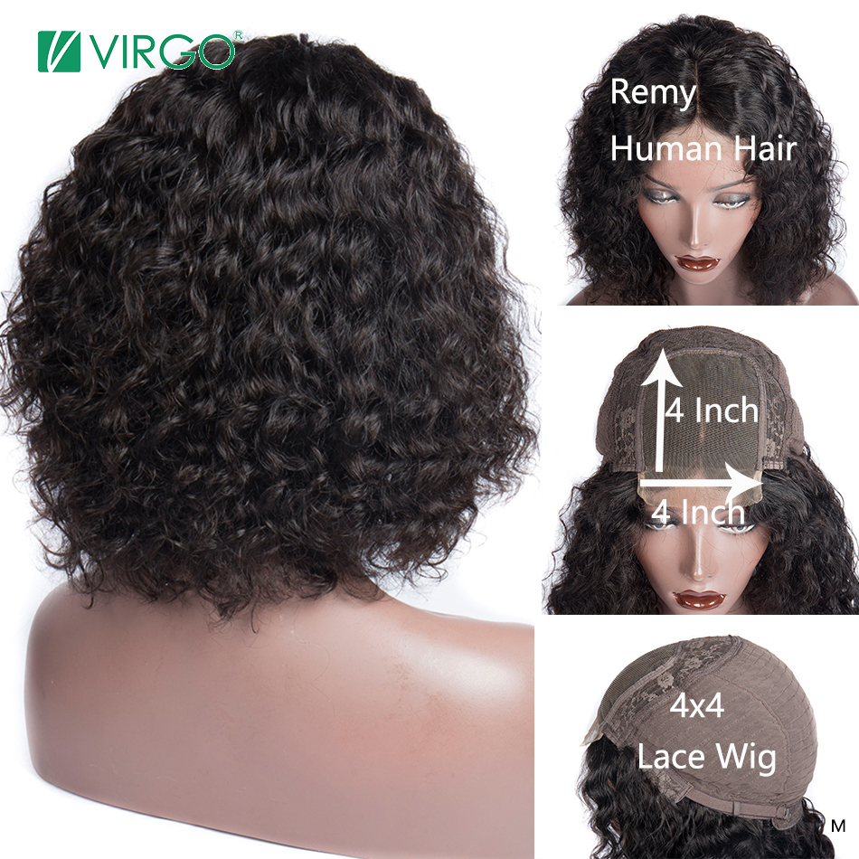 Virgo Loose Wave 4x4 Lace Closure Wig With Baby Hair For Women Middle Brazilian 150% Density Remy Hair Bleached Knots 10-24 Inch