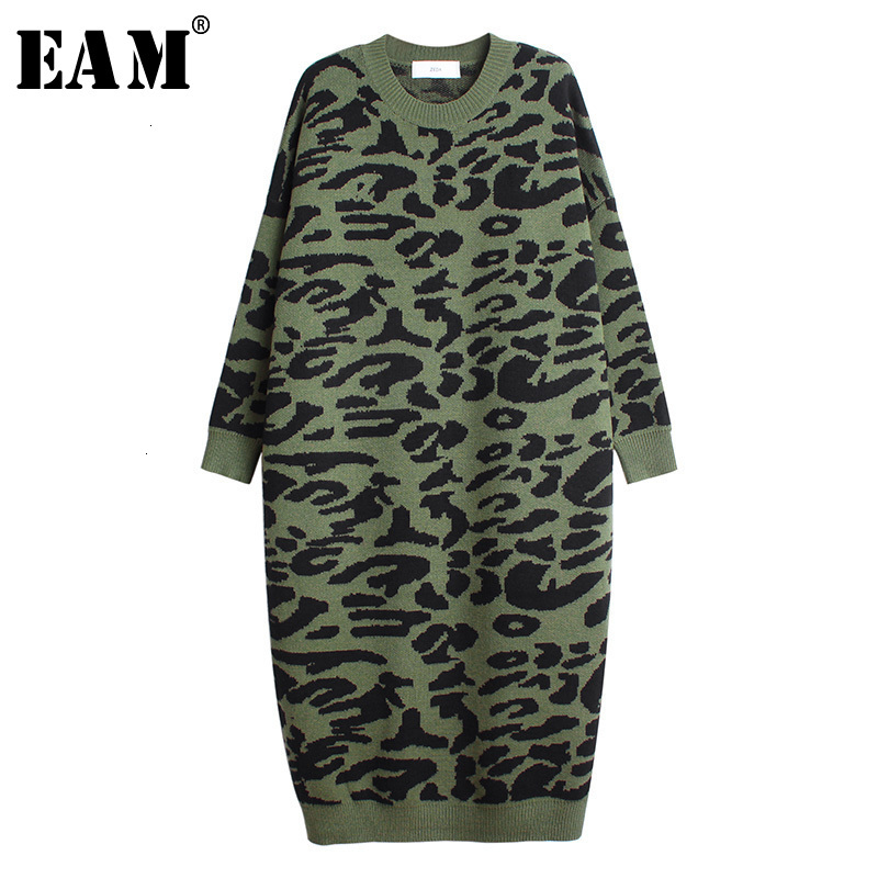 [EAM] Leopard Print Big Size Knitting Sweater Loose Fit Round Neck Long Sleeve Women New Fashion Tide Autumn Winter 2019 1H274