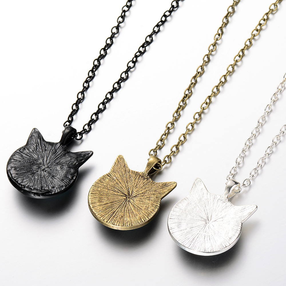 Cute Black Cat Necklace for pet lovers Cat ears Pendant Jewelry with Black Chain