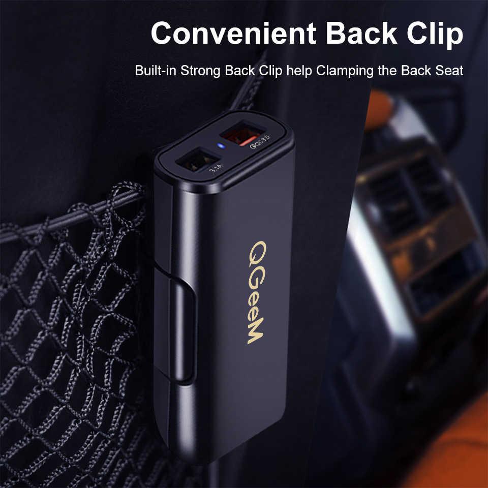 Qgeem 4 USB Charger Mobil untuk iPhone Pengisian Cepat 3.0 Mobil Charger Portabel Hammer Depan Belakang QC3.0 Telepon Pengisian Cepat charger Mobil