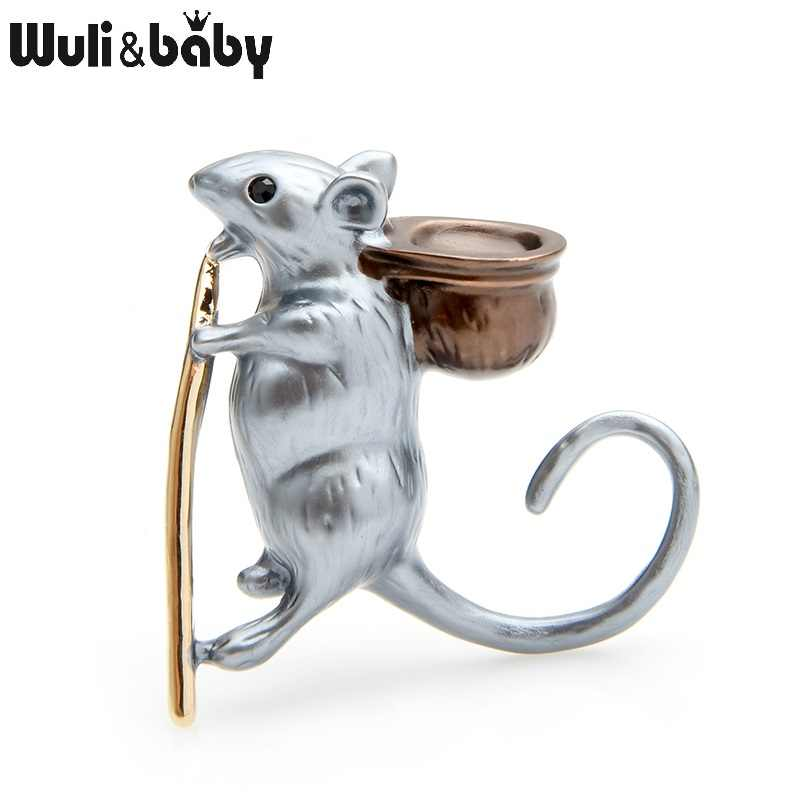 Wuli&baby Special Style Enamel Mouse Brooches Women Alloy Grey White Rat Animal Party Banquet Brooch Pins New Year Gifts