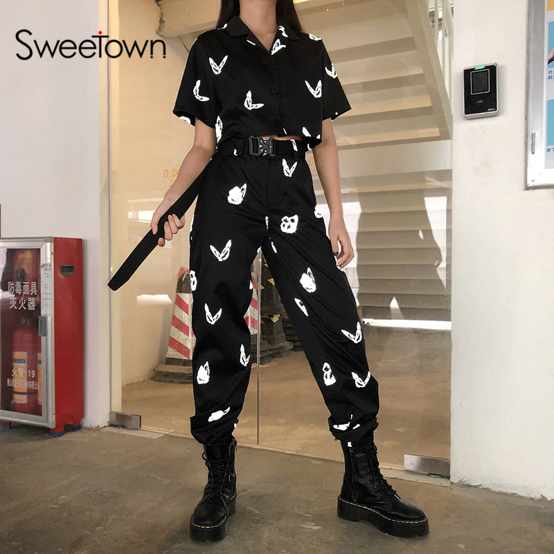 Sweetown Reflective Butterfly Pattern Women Two Pieces Set Street Style Jackets Tracksuit Female Streetwear Cargo Pants Suits