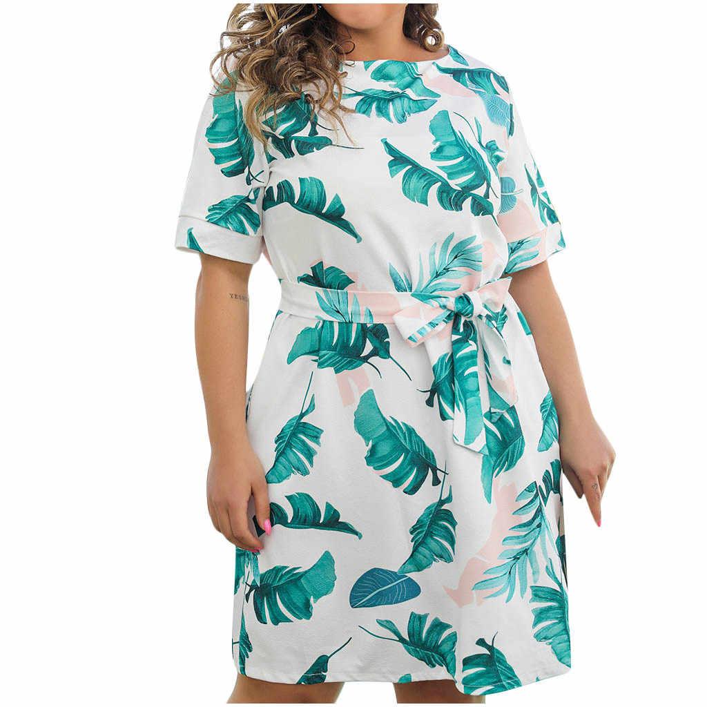 38 #2020 נשים אופנה שמלה בתוספת גודל מזדמן הדפסת O-צוואר קצר שרוול גבוה מותניים שמלה מזדמן קיץ שמלה נוחה