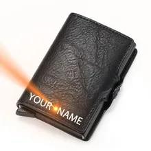Wallet Cardholder RFID Minimalist Engraving Women Name for Blocking Pop-Up Credit Slim