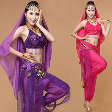 4pcs/Set Women Indian Dance Costumes Oriental Belly Dancing Clothing Set