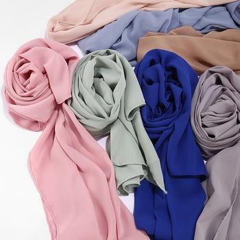 High quality Crinkle chiffon hijab scarf shawls Ladies muslim fashion plain wraps headband long scarves/scarf high quality women 100% rayon crinkle scarf cotton wrinkle muslim hijab wraps headband long scarves 18 colors 180 95cm