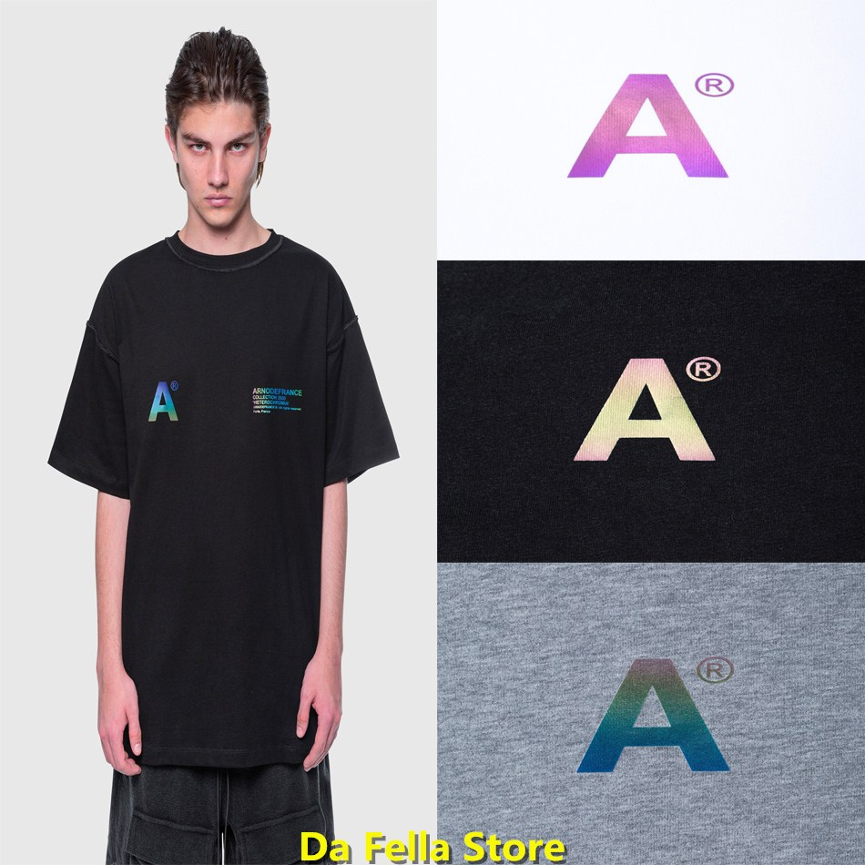 Arnodefrance T-shirt Men Women Arnodefrance T-shirts Rainbow Word Color 3M reflective Tee 2020 Collection Heterochromatic Tops