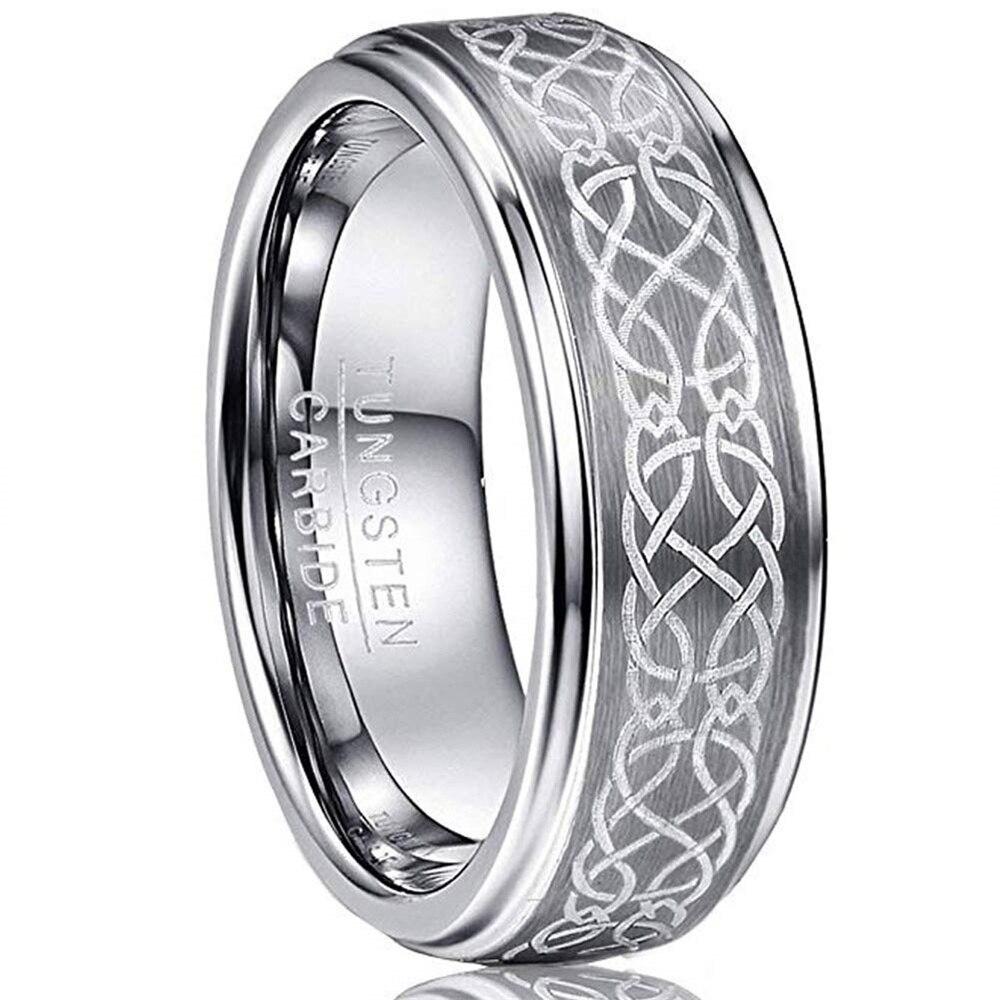 Tree of Life Laser Pattern Stainless Steel Wood Inlay Ring Women Men Size 6-13