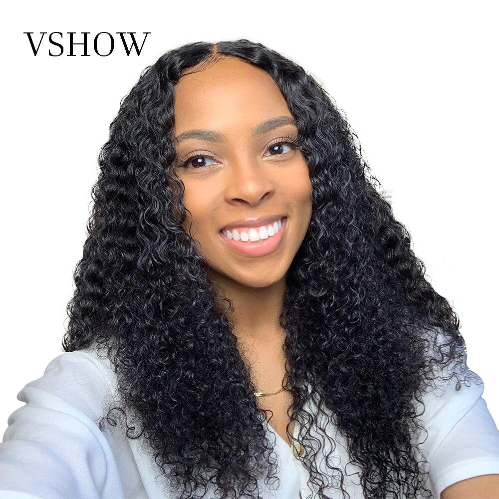 VSHOW 13x4 Курчавые Кудрявые человеческие волосы парики для черных женщин 150 плотность волосы remy парик монгольский кудрявый 360 парик фронта