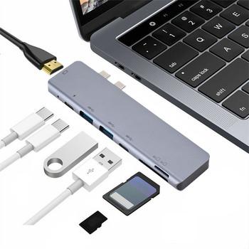 Rodzaj USB-c Hub dwa porty USB HUB-C do 4 K HDMI-kompatybilny Adapter 3 podwójny USB 3 1 HUB dane 1 czytnik kart SD TF piasta dla PC tanie i dobre opinie OMESHIN USB 3 0 CN (pochodzenie) Brak NONE 6 in 1 USB-C Hub