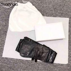 Svoryxiu Designer Custom Genuine Leather Black Cummerbunds Women's High End Belt Clothing Accessories Fashion Cummerbunds