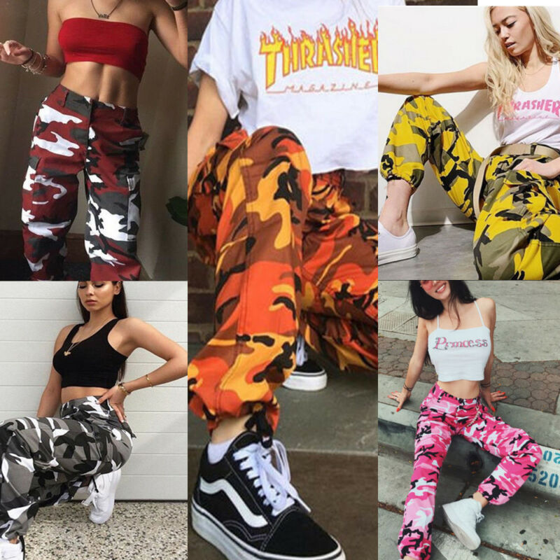 Women Sports Camo Cargo Long Pants 2019 Brand New Style Fashion Outdoor Camouflage Trousers Jeans X-large