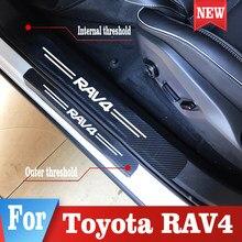 Adhesivo para alféizar de puerta para coche Toyota RAV4, adhesivo para Protección de fibra de carbono de coche, accesorios para coche, 4 Uds.