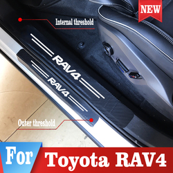4PCS Car Styling Door Sill Sticker for Toyota RAV4 Car Carbon Fiber protection sticker Auto Accessories