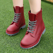 Women's Fashion Rainboots Waterproof Shoes Woman Mud Water Shoes Rubber Lace Up PVC Ankle B