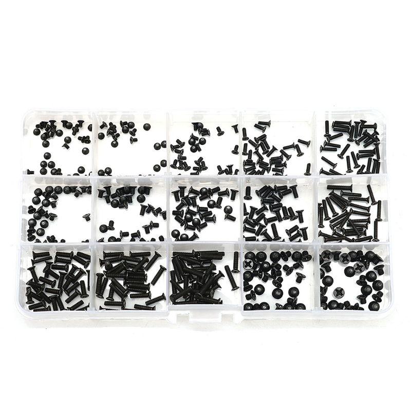 450pcs Cross Screws M2/M2.5/M3 Carbon Steel Laptop Bolts Flat Head Repair Tools 57BB