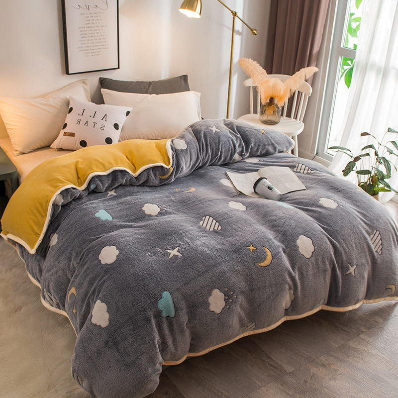 Home Textiles 1pcs  Flannel Quilt Cover Soft Warm Coral Fleece Blanket Winter Quilt Cover Throw Mechanical Wash