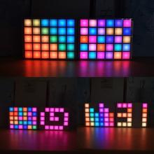 СВЕТОДИОДНЫЙ цифровой дисплей музыкального спектра DIY Kit модуль светодиодный эквалайзер музыкальный спектр красочная Палетка часы электронный комплект «сделай сам»