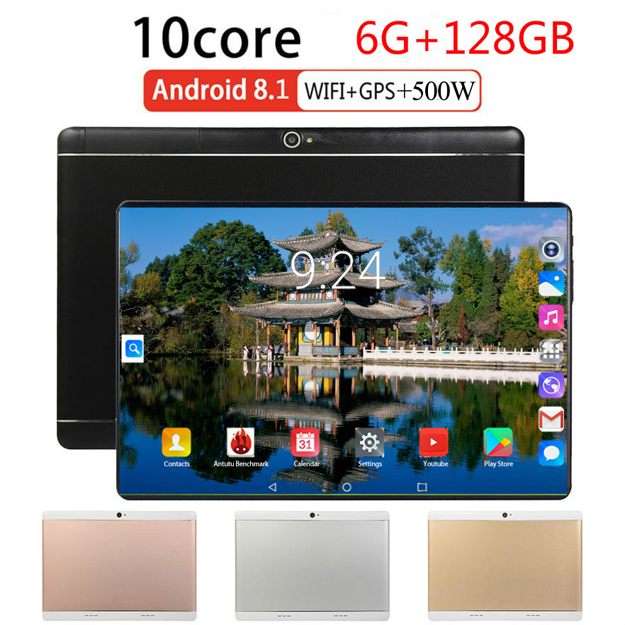 2020 Newest Tablet PC 10 Inch Android 8.0 Octa Core 6GB + 128GB ROM Tablets WiFi Phablet Dual SIM 4G FDD Lte WiFi Bluetooth GPS