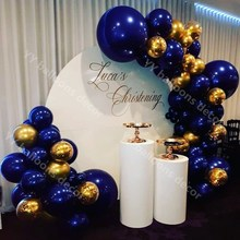Party-Decoration-Supplies Balloon Garland Inflator Gold Navy-Blue 81pcs Arch Latex Birthday