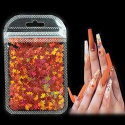 3 g/set Shiny Leaf Shape Glitter Micro Flakes Acrylic Holographic Gold Sequins DIY 3D Nail Art Decorations Polish Manicure