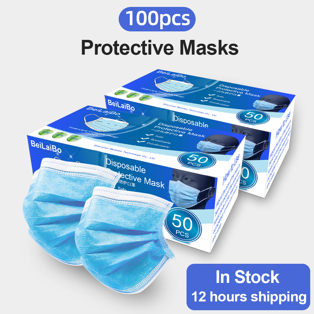 100Pcs Disposable 3 Layers Protective Masks Prevent Anti Virus Dust Formaldehyde Bacteria Protection Face Mouth Masks PM2.5 FPP3
