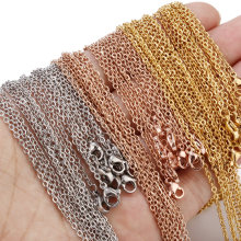 Corrente de aço inoxidável, colar de ouro rosado e ouro 10 pçs/lote 2mm de largura para diy, produção de material artesanal