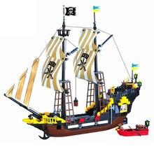Bloco de construção grande navio pirata barco pérola negra silencioso maria aventura caribe mar tijolos educativos brinquedo presente do menino