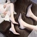 Модные кеды новая с заостренным носком, модные туфли с закрытым носком на тонком каблуке; Рукав ножка Профессиональный Высокая Женская обув...