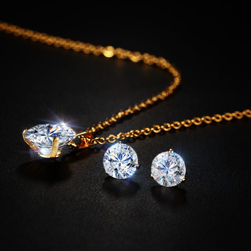 Hot DealsVnox Necklace Jewelry-Set Solitaire Stainless-Steel Pendant Stud-Earrings Chain Elegant