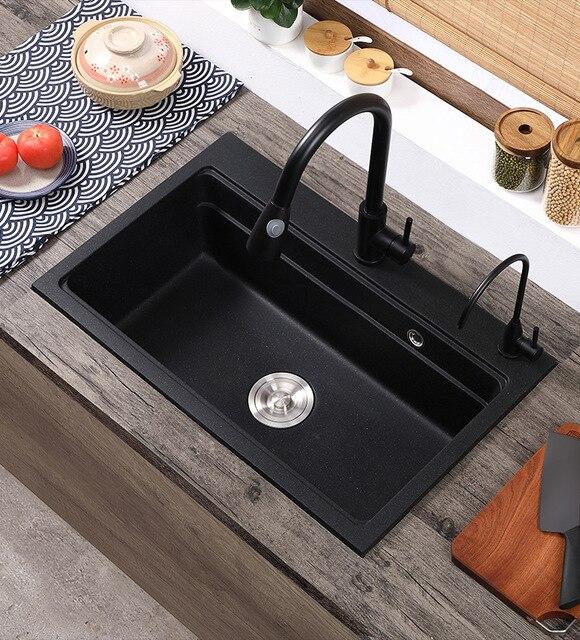 Кухонная раковина из кварцевого камня полностью отлитая черная
