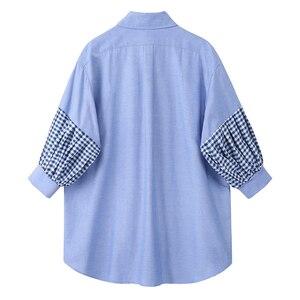 [EAM] Women Blue Plaid Ruffles Split Big Size Blouse New Lapel Long Sleeve Loose Fit Shirt Fashion Tide Spring Autumn 2020 1U340