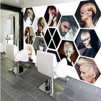 Custom Wall Paper 3D Modern Fashion Beauty Salon Hair Salon Photo Mural Barber Shop Decoration Wallpaper Papel De Parede 3D