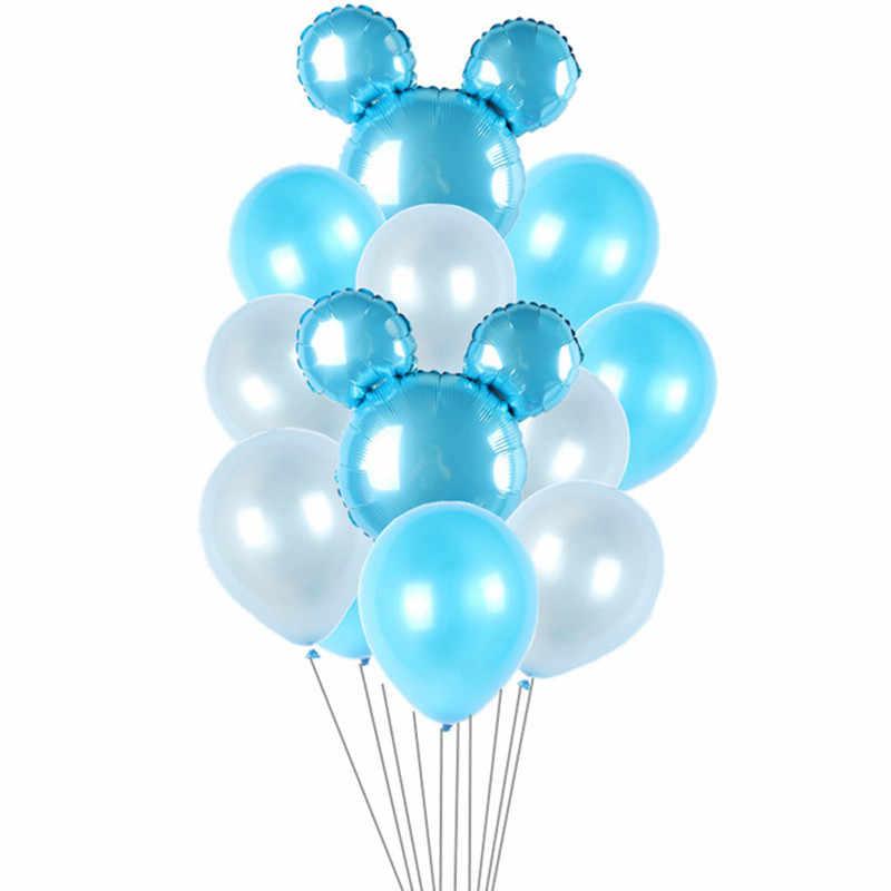 """Xxyyzz 1 Set Mickey Minnie Hoofd Folie Ballonnen Roze Zilver 10 """"Latex Ballon Voor Thema Party Verjaardagsfeestje Bruiloft decoratie Bal"""