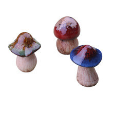 3-Pack Ceramic Mushrooms Statue Decor For Garden Home Decoration
